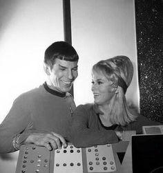 Behind the scenes with Leonard Nimoy and Grace Lee Whitney.