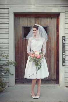 love this vintage wedding dress with lace sleeves + short veil combo!   CHECK OUT MORE IDEAS AT WEDDINGPINS.NET   #weddings #weddingdress #inspirational