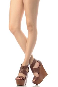 688a9920adfc0d Chestnut Faux Leather Laser Cut Out Wooden Wedges. Shoes Wedges BootsWedge  BootsWedge SandalsProm ShoesDress ...