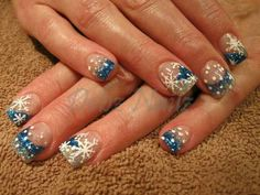 Blue & White Tips with Snow Flake Design.