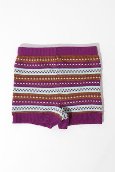 want Reckless Exuberance Knitted Shorts in Purple and Blue Stripe