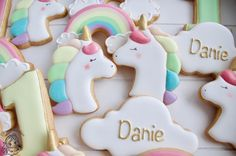 Rainbow Unicorn cookies Unicorn Cookies, Royal Icing Cookies, Rainbow Unicorn, Madness, Bliss, Instagram Posts, Desserts, Food, Decor