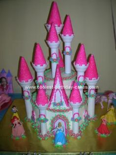 Homemade Princess Castle Cake: I used the Wilton Romantic Castle Cake set and followed their directions. It included a 10 inch 2-layer cake topped with a 6 inch 2-layer cake (on a cake