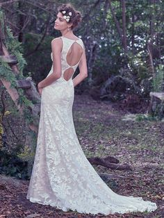 Shop the Maggie Sottero Rhoda wedding dress! This style features a scoop neckline, sequined floral lace, sheath silhouette, and unique double keyhole back. Form Fitting Wedding Dress, Perfect Wedding Dress, Cheap Wedding Dress, Dream Wedding Dresses, Designer Wedding Dresses, Wedding Gowns, Prudence Gowns, Wedding Dress Gallery, Maggie Sottero Wedding Dresses