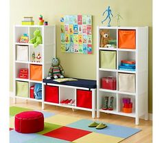 8 cube and 3 cube book case from The Land of Nod. Definitely could DIY these.