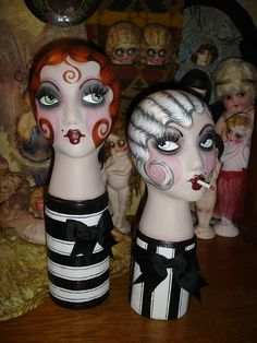 Flapperdashery = Hand painted mannequin heads