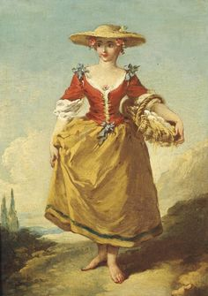 François Boucher (Paris 1703-1770) A peasant girl in a landscape carrying a basket of eggs
