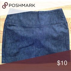 "Express Denim Skirt Express dark denim mini skirt. Brand new with tags. Cotton/spandex blend. Side zipper closure. Size 2 14"" across at waist  15"" long Express Skirts Mini"