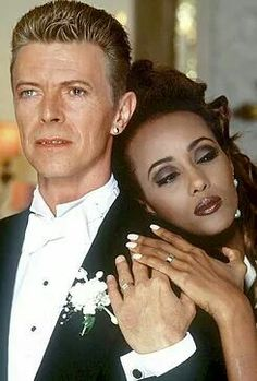 David Bowie & wife Iman on their wedding day, 1992.