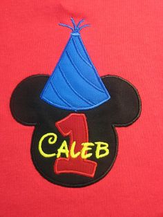 8ca2a4c2925b9 Personalized Mickey Mouse Birthday Shirt with Large Mickey Head and Party  Hat and Solid Red Fabric Number Applique. SHORT or LONG SLEEVES