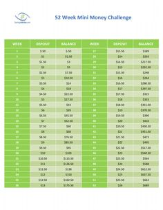 52 Week Mini Challenge for saving money! Good for kids