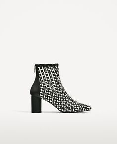 Image 2 of TWO-TONE BRAIDED HIGH HEEL ANKLE BOOTS from Zara