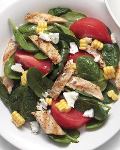 Summer dinner solved: chicken cutlets take less than 5 minutes to grill. Add in some fresh summer produce -- cue the corn and tomatoes -- plus a bag of baby spinach and dinner's done.