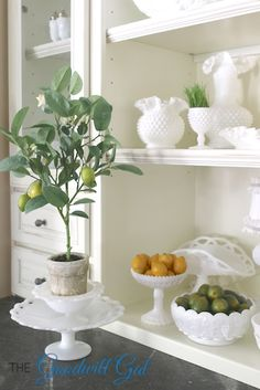 Milk Glass with lemons and limes for Spring. #vintage #collection #Goodwill