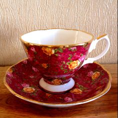 Royal Albert Ruby Lace tea cup and saucer - my friend Linda gave me two sets of this pattern