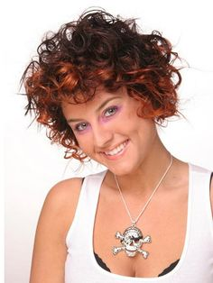 Curly Hairstyles Short Curly Hairstyles For Round Faces And Dark Brown Hair Color With Light Copper Highlights Make You Look Sexy Funky Short Hairstyles for Round Faces and Curly Hair