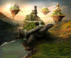 Turtle Islands by ElenaDudina on DeviantArt Mythical Creatures Art, Fantasy Creatures, Island Tattoo, Giant Animals, Dark Artwork, Fantasy Island, Fantasy Setting, Wow Art, Fantasy Landscape