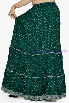 8f4b075d0b0e Indian Women Silver Printed Cotton Green Long by JaipurKalaKendra