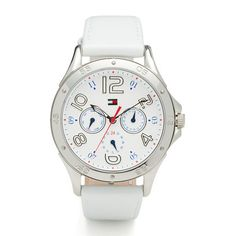 Stylish women's quartz watch in silver-toned stainless steel Round case with white dial Chronograph features Tommy Hilfiger flag and signature colours in the centre Leather strap with logo flag embossed on the buckle Water resistance: 3 ATM (30 metres)