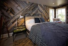The Design Network using Stikwood Reclaimed Wood Wall Planking in herringbone pattern! Stick On Wood Wall, Peel And Stick Wood, Weathered Wood, Barn Wood, Reclaimed Wood Accent Wall, Salvaged Wood, Accent Wall Bedroom, Bedroom Decor, Bedroom Ideas