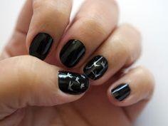 bird manicure - manicura pájaros negra y plata