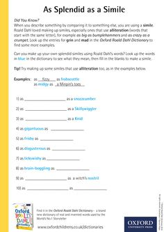 As Splendid as a Simile - download our phizz-whizzing Oxford Roald Dahl Dictionary activity sheets now! #RoaldDahlDay #DahlDictionary Dictionary Activities, Roald Dahl Day, Activity Sheets, Did You Know, Oxford, Lettering, Education