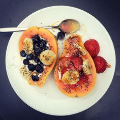 Today's exquisite lunch, almost as if I had just eaten dessert. #papaya #strawberries #blueberries #chiaseeds #banana #organicyogurt #organichoney