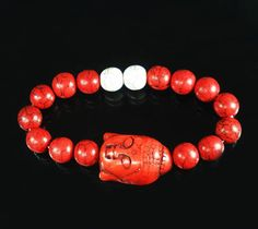 Style Turquoise Red Buddha & Red White Ball Beads Stretch Prayer Bracelet 590 #Jewelry #Fashion #Cultural