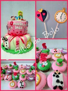 O sitio do bolo: Festa Alice no pais das maravilhas : bolo, cupcake...