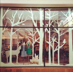 Christmas shop window cut out forest scene Christmas Windows, Winter Window Display, Christmas Window Display Retail, Christmas Displays, Christmas Crafts, Christmas Decorations, Modern Christmas, Decoration Vitrine, Store Window Displays