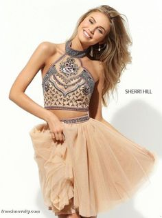 Sherri Hill 50645 Halter 2pc Short Party Dress