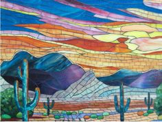 mosaic - stained glass - desert & mountains & sunset sky