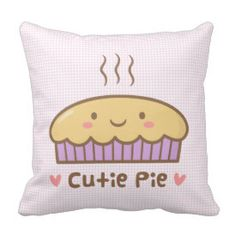Cute Cutie Pie Food Doodle Room Decor Throw Pillow
