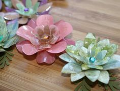 """Check out these """"Glass"""" Flower's!!  Done with UTEE... http://followingthepapertrail.blogspot.com/2010/03/whats-up-wednesday-3242010.html"""