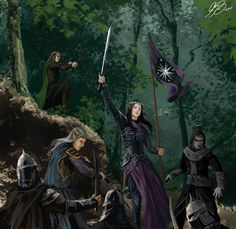 Battle Scene Commission by Entar0178 (Elves in a battle in Middle-earth)