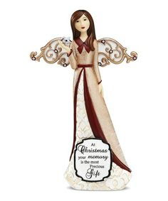 This lovely angel figurine will sing choruses in any home's décor. The elegant design and inspirational message look fitting on a mantel, and she will watch over the holiday season with care.