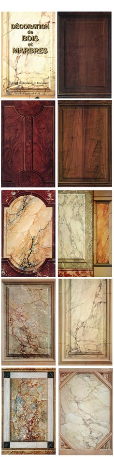 Examples of painted wood and marble