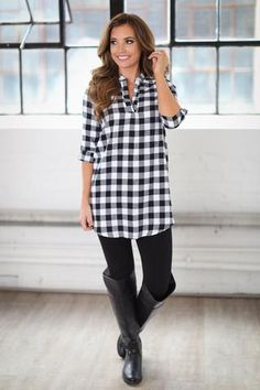 "**Use code ""REPLAUREN"" for 10% off + Free Shipping!!!!**  Best Days Flannel Tunic - Black & White"