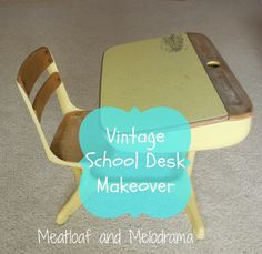 vintage desk redo with spray paint, chalk paint, chalkboard paint