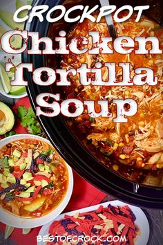 Crockpot chicken tortilla soup a delicious and easy homemade soup recipe! Add it to your meal prep for the week; this recipe also scales easily for larger groups! Top Crockpot Recipes, Healthy Crockpot Recipes, Lunch Recipes, Slow Cooker Recipes, Dinner Recipes, Milk Recipes, Slow Cooker Tortilla Soup, Healthy Chicken Tortilla Soup, Chicken Soups