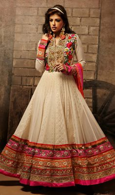 Designer Jacquard Long Length Anarkali Suit Price: Usa Dollar $189, British UK Pound £111, Euro138, Canada CA$ 202, Indian Rs10206.