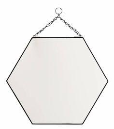 Madam Stoltz zeshoekige spiegel metalen frame aan een ketting