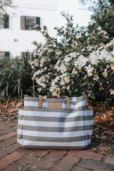 The Aquila Tote Bag by White ElmBlack StripeDiaper BagLaptop Bag
