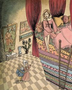 """The satirical tale """"The Princess and the Pea"""" was an old Swidish tale, rewritten and published by Hans Christian Andersen in This popular tale is written in in a style reminiscent of the old oral storytelling techniques. It tells the story of a prin… Hans Christian, Princess Illustration, Illustration Art, Illustrations, Aesthetic Colors, Book Aesthetic, Pea Ideas, Storytelling Techniques, Evil Disney"""