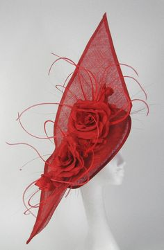 Red  Fascinator Kentucky Derby or Wedding Hat.