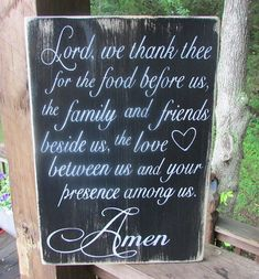 Primitive Country wood sign, Kitchen sign, Say Grace sign, handpainted sign, distressed handcrafted, Lord we thank thee, inspirational sign on Etsy, $35.95