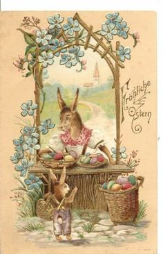 Nice Gilded and Embossed Easter Rabbit Postcard - Undivided Back - Posted 1903