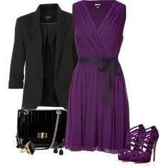 Purple dress with matching pumps and a blazer Cute Dresses, Cute Outfits, Gala Dresses, Work Outfits, Looks Style, My Style, Fashion Outfits, Womens Fashion, Fashion Trends