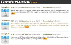 Haryana Tenders, Tender Detail provides all latest and updated #tenders online in India as well as Globally. Fastest Way to get all detailed tender info about #Haryana tenders 2016.