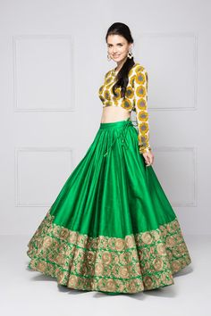 Sunflower embroidered lehenga with printed blouse & dupatta